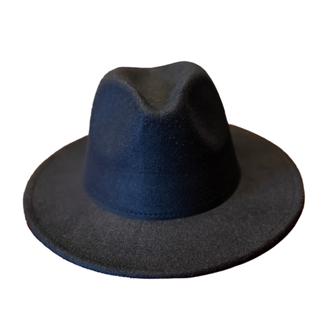 Black Fedora Hat With Contrasting Tan Lining
