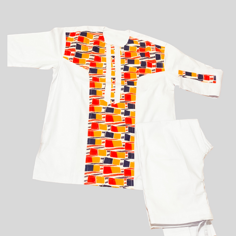 White Long Sleeve With Multi Center Colors Men Set