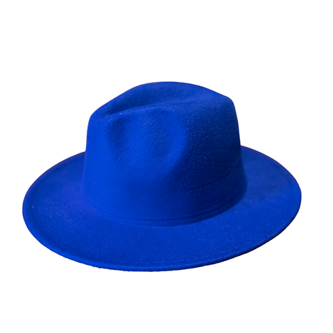 Blue Fedora Hat With Yellow Lining