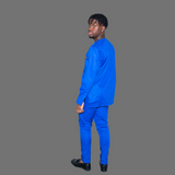 Blue Men's Long Sleeve Traditional Set