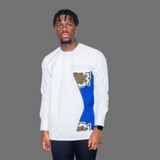 White Long Sleeve Men Shirt With Blue Accent