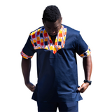 Blue black with orange and red embroidered ankara shirt