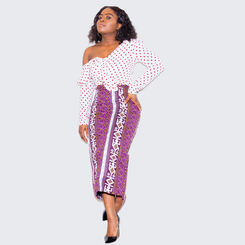 Amba Purple Pencil Skirt With Back Spilt