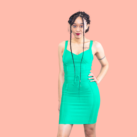 Green strappy bandage midi dress