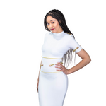 White round neck with gold embedded bandage dress