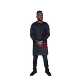 Black Long Sleeve  Africa Traditional Men set with Red accent
