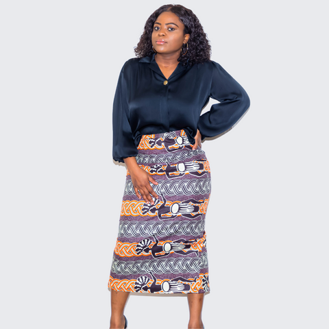 Amba Multi Color  Pencil Skirt