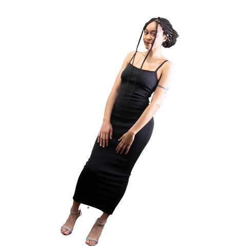 Black Strappy Midi Bondage Dress