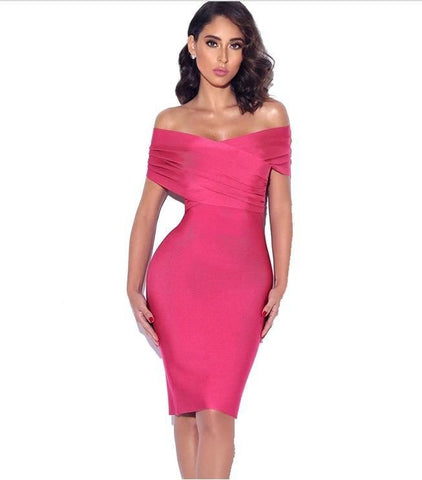Hot pink off the shoulder midi bandage dress