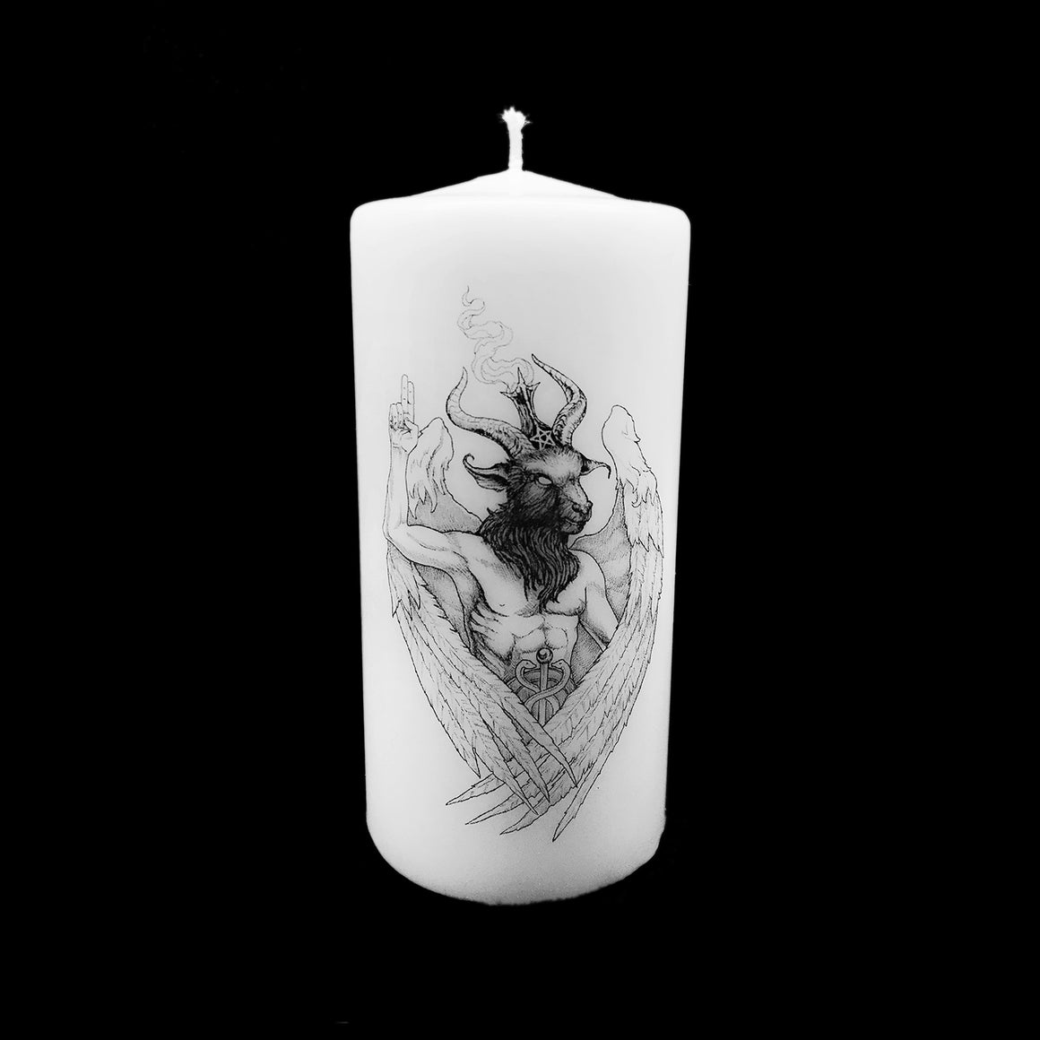 Baphomet Pillar Candle designed by Dellamorte & Co for TST