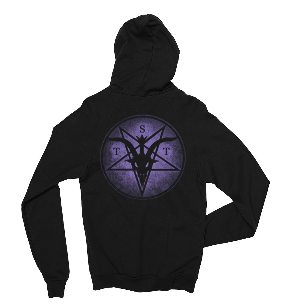 The Satanic Temple Zip up Hoodie two sided print PURPLE Logos