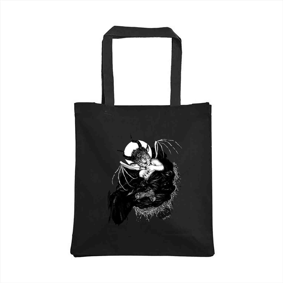 Baby Baphomet Tote Bag design by The Black Veil Studio