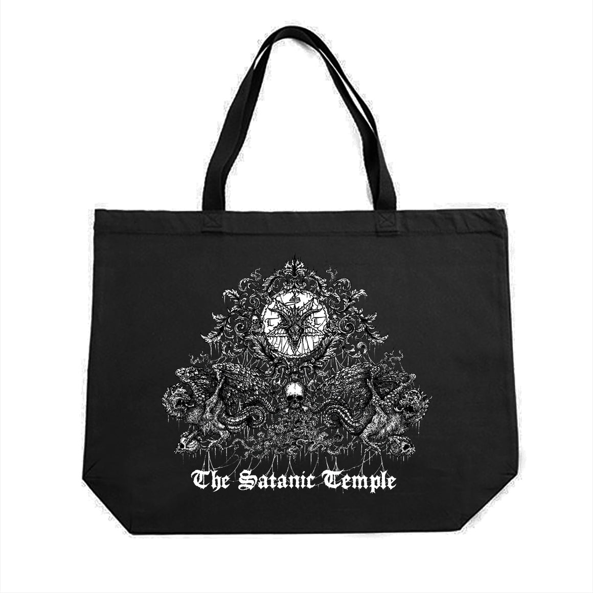 The Satanic Temple Crest Large Tote Bag Designed by Luciana Nedelea