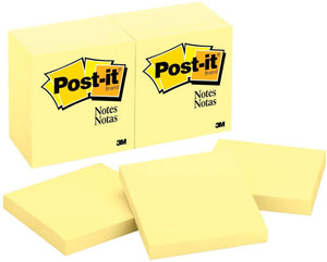 "Post-it Notes - 3"" x 3"" Canary Yellow, 100 Sheets/Pad, 12 Pads/Pack"