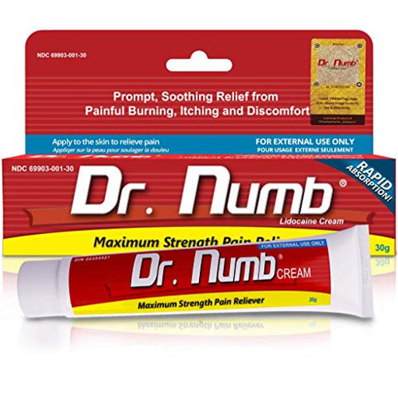 Dr. Numb 5% Lidocaine Cream for Skin Numbing Tattoo, Waxing Piercing, 30 g