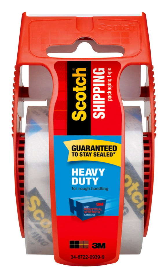 Scotch Heavy Duty Shipping Packaging Tape with Dispenser, 1.88 in. x 1000 in., Clear, 1 Dispenser/Pack