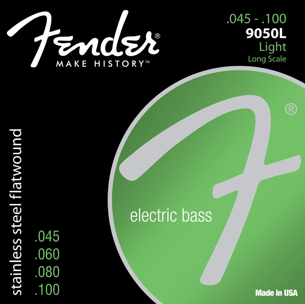 Genuine Fender® Stainless 9050L Flatwound Bass Strings, Set of 4 073-9050-403