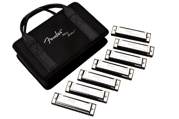 Genuine Fender Blues Deluxe Harmonica, Set of 7, with Case 099-0701-049