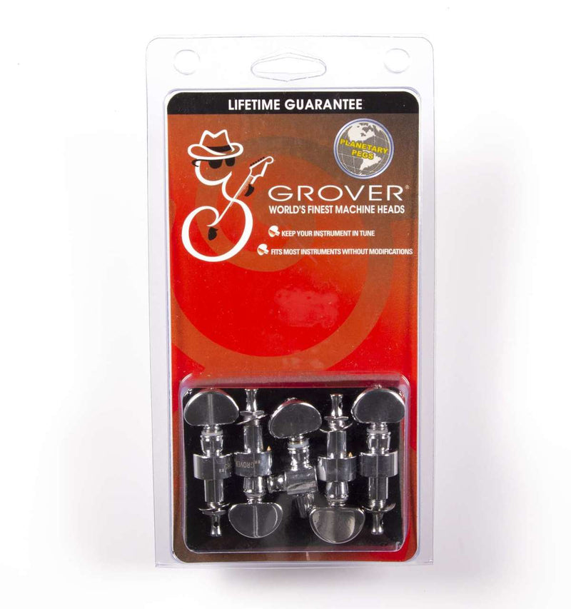 Grover 121C5 Planetary Geared Banjo Pegs. Set of 5, Chrome with metal buttons