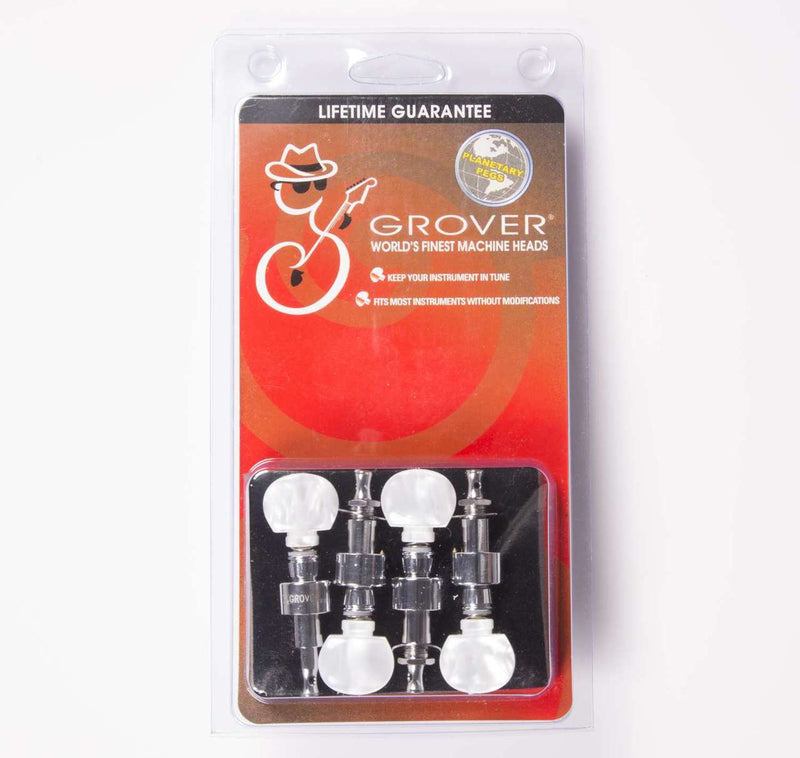 Grover 123C Geared Banjo Pegs, Set of 4 Chrome, Round Pearloid buttons
