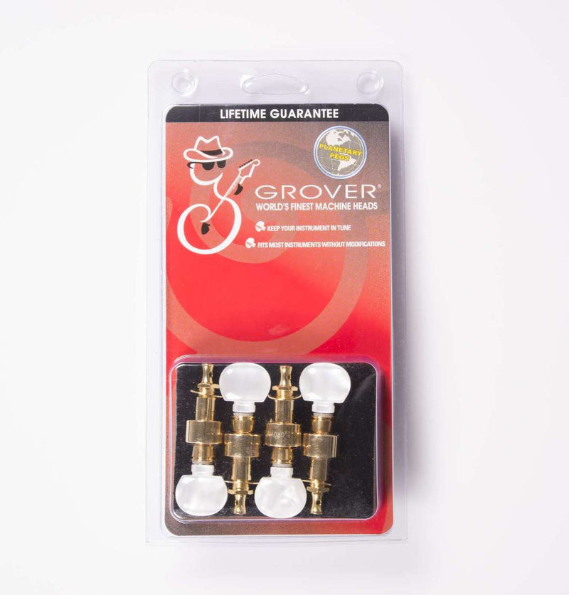 Grover 123G Geared Banjo Pegs, Set of 4 Gold, Round Pearloid buttons