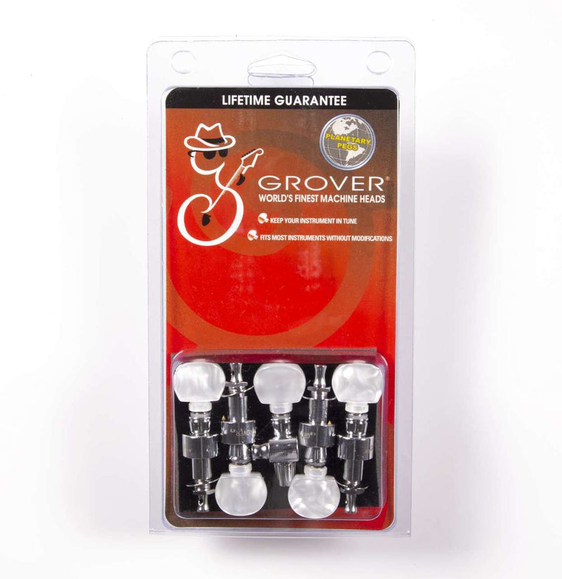 Grover 124C5 Planetary Geared Banjo Pegs. Set of 5, Chrome with Round Pearloid Buttons