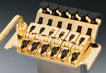 Load image into Gallery viewer, Schaller Germany Lockmeister Floyd Rose Tremolo Bridge, 37mm R2 Nut Gold