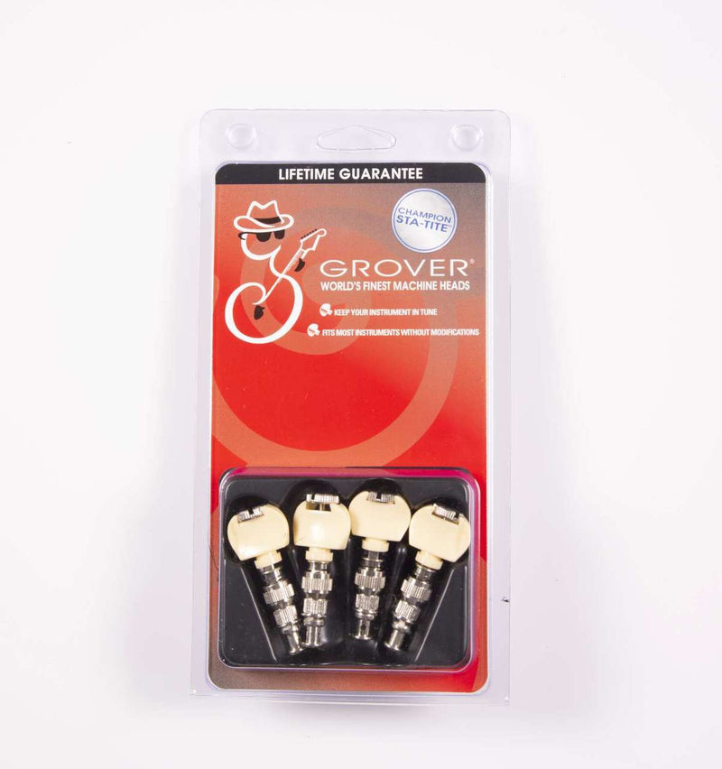 Genuine Grover Ukulele Peg Champ Deluxe, Nickel with Pearloid button, Set of 4