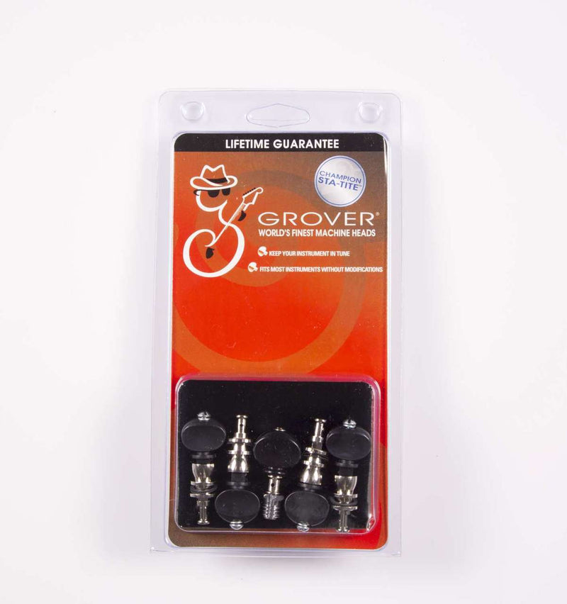 Genuine Grover Champion Banjo Pegs Nickel Black button, Set of 5