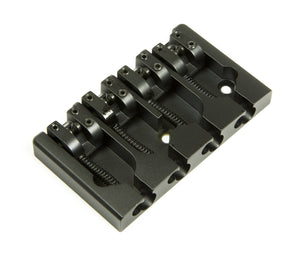 Hipshot A Style 4 String Bass Bridge Brass, Black, Retrofits 5 Hole Fender