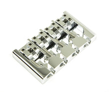Load image into Gallery viewer, Hipshot A Style 4 Str Bass Bridge Brass, Chrome Retrofits 5 Hole String-through
