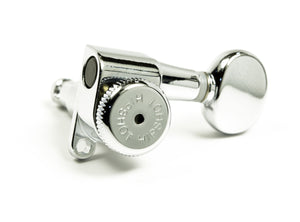 Hipshot Vintage 8.5mm Chrome Staggered Enclosed Grip-lock Tuner UMP Upgrade Kit with D05 Buttons