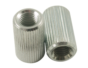 Kluson Anchor Bushings (2) fror studs Fine Knurl 0.875 in clear zinc (USA Made)