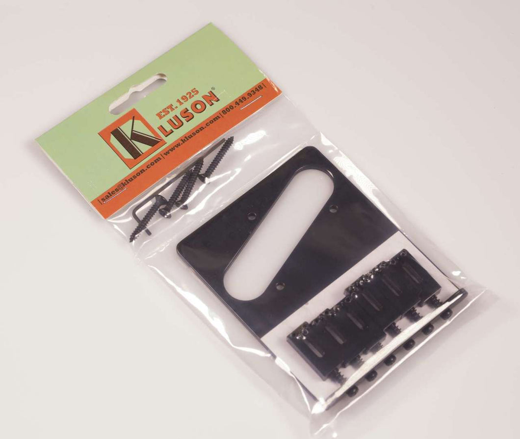 Kluson 4 hole 6 Saddle Lefty Tele Drop in Upgrade Bridge, Steel Saddles, Black