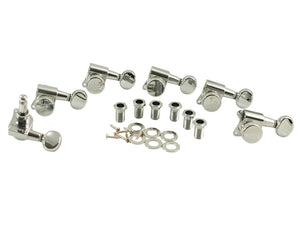 Kluson Locking Tuners - 6 in line, Oval metal button, Chrome 3805CL