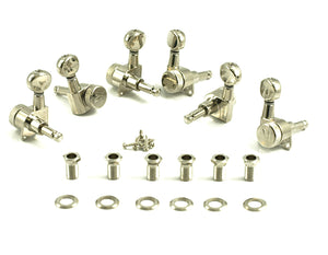 Kluson Locking Tuners - 6 in line, Oval metal button, Nickel 3805NL