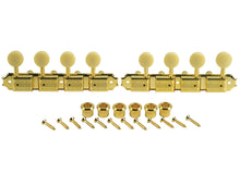 Load image into Gallery viewer, Kluson Supreme A Type Gold Mandolin tuners, 18:1 Ratio, Bone Buttons