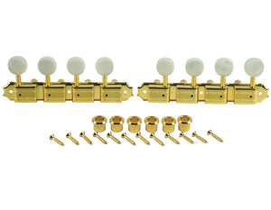 Kluson Supreme A Type Gold Mandolin tuners, 18:1 Ratio, Pearl Buttons