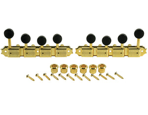 Kluson Supreme F Type Gold Mandolin tuners, 18:1 Ratio, Black Buttons