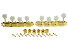 Load image into Gallery viewer, Kluson Supreme F Type Gold Mandolin tuners, 18:1 Ratio, Pearl Buttons