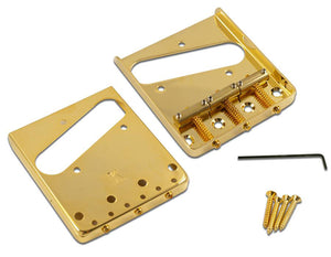 Kluson Steel Bridge For Tele W/Brass Saddles Gold - Gloss - KTB-1293G