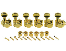 Load image into Gallery viewer, Kluson Revolution Diecast Tuners 6 Inline Vintage Locking H-Mount Gold