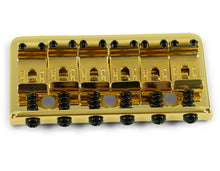 Load image into Gallery viewer, Kluson Vintage 6 String Fixed Hardtail Bridge, Through-mount, Gold