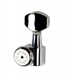 Hipshot Grip-Lock Enclosed Left Hand/Reverse 6 in line staggered post Chrome locking tuner