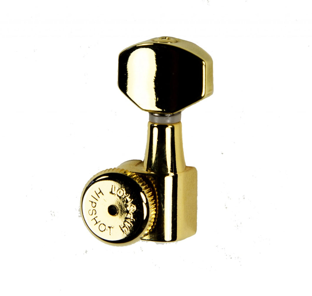 Hipshot Grip-Lock Enclosed 8 in line Left Hand/Reverse non-staggered post Gold locking tuner