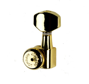 Hipshot Grip-Lock Enclosed 7 in line Left Hand/Reverse non-staggered post Gold locking tuner