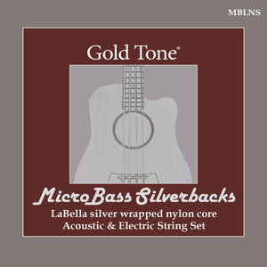 Gold Tone MBLNS MicroBass LaBella 'Silverback' Silver-Wrapped Nylon Strings