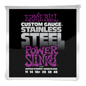 Ernie Ball Power Slinky Stainless Steel Wound Electric Guitar Strings 11-48