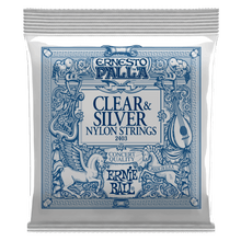 Load image into Gallery viewer, Ernie Ball Ernesto Palla Black Nylon Clear and Silver Classical Guitar Strings