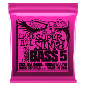 Ernie Ball Super Slinky Nickel Wound 5 String Electric Bass Strings 40-125